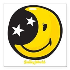 """Moon Smiley Square Car Magnet 3"""" x 3"""""""