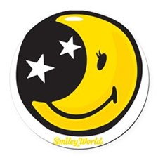 Moon Smiley Round Car Magnet