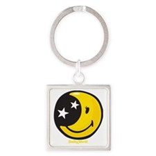 Moon Smiley Square Keychain