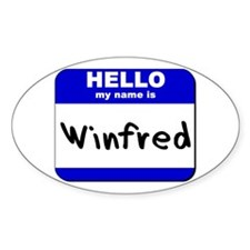 hello my name is winfred Oval Decal