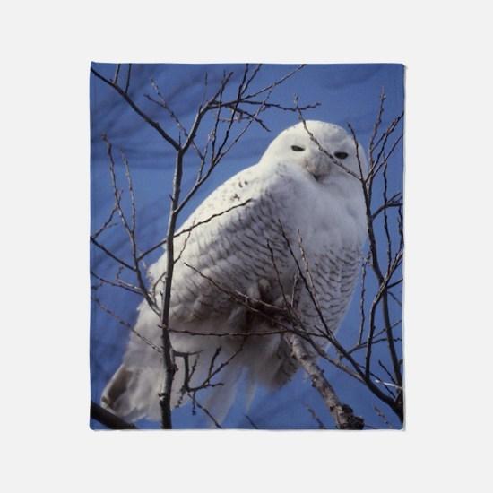 Snowy White Owl Throw Blanket