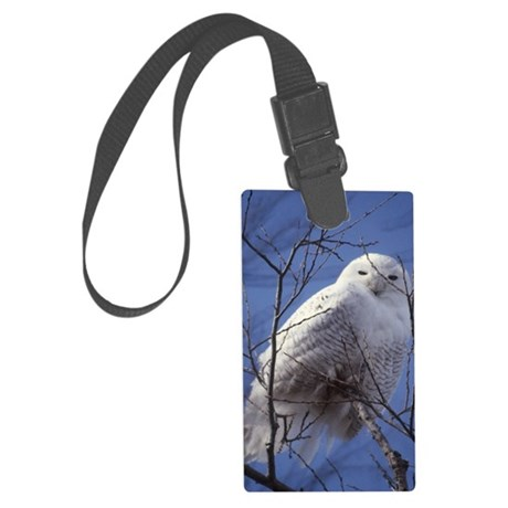 Snowy White Owl Large Luggage Tag