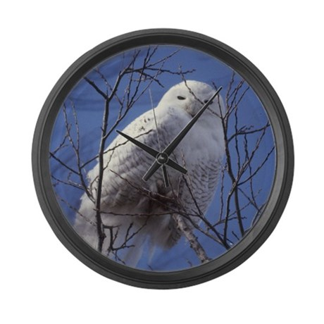 Snowy White Owl Large Wall Clock
