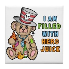 Teddy Bear Filled with Hero Juice Tile Coaster
