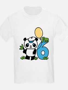 Lil' Panda Boy 6th Birthday T-Shirt