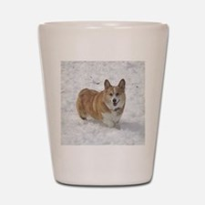 Red and White Corgi in the Snow Shot Glass
