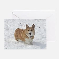 Red and White Corgi in the Snow Greeting Card