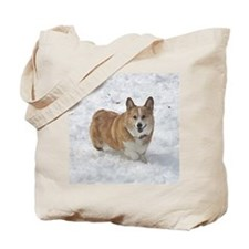 Red and White Corgi in the Snow Tote Bag