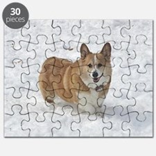 Red and White Corgi in the Snow Puzzle