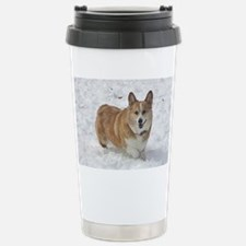 Red and White Corgi in Stainless Steel Travel Mug