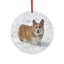 Red and White Corgi in the Snow Round Ornament