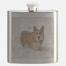 Red and White Corgi in the Snow Flask