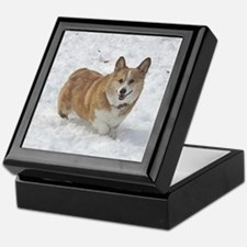 Red and White Corgi in the Snow Keepsake Box