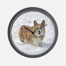 Red and White Corgi in the Snow Wall Clock