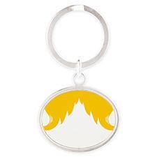 Mustache-100-B Oval Keychain