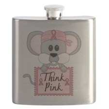 Think Pink Breast Cancer Awareness Mouse Flask