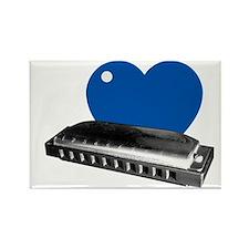 I Blue Heart Harmonica dark tshir Rectangle Magnet