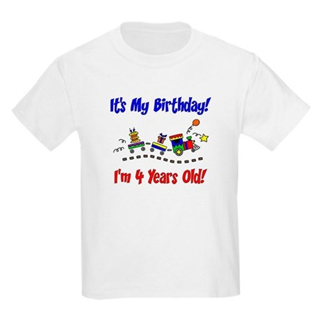 Train 4th Birthday Kids Light T-Shirt