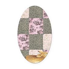 Sleepy Bunny Journal Oval Car Magnet