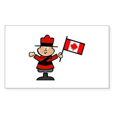 Cute Canadian Mountie Rectangle Sticker