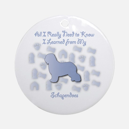 Learned Schapendoes Ornament (Round)