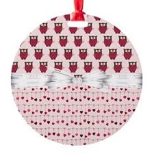 Pink Whimsical Owls Ornament