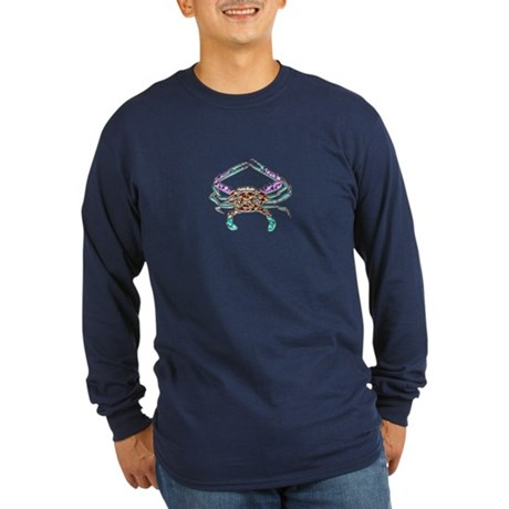 Gem Blue Crab Long Sleeve Dark T-Shirt