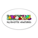 My Favorite Vegetables Oval Sticker