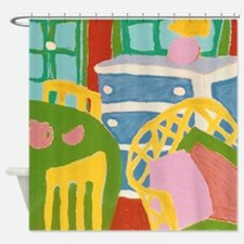 Interior With Yellow Wicker Chair Shower Curtain