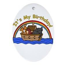 Noah's Ark Birthday Oval Ornament
