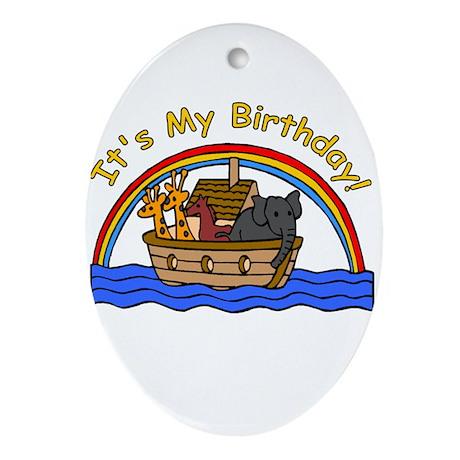 Noah's Ark Birthday Oval Ornament