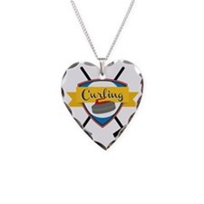Curling Logo Necklace Heart Charm