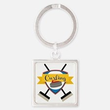 Curling Logo Square Keychain
