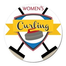 Women's Curling Round Car Magnet