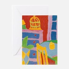 Yellow Chair and Birdcage Greeting Card