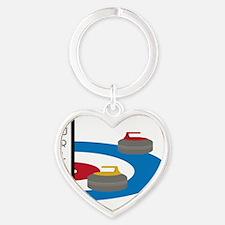 Curling Field Heart Keychain