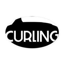 Curling Stone Oval Car Magnet