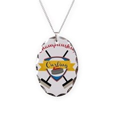 Championship Curling Necklace Oval Charm