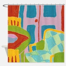 Diamond Chair and French Doors Shower Curtain