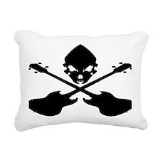 Skull and Bass Guitar Bl Rectangular Canvas Pillow