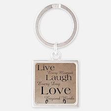 Live, Laugh, Love Square Keychain