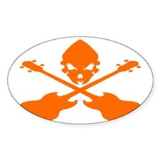 Skull and Bass Guitar Orange Decal