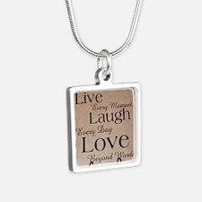 live laugh love Silver Square Necklace