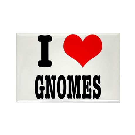 I Heart (Love) Gnomes Rectangle Magnet (10 pack)