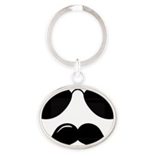 Mustache-087-A Oval Keychain