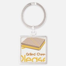 Grilled Cheese Please Square Keychain