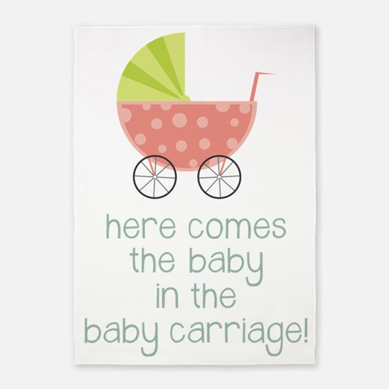 Baby in the Baby Carriage 5'x7'Area Rug