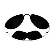 Mustache-078-A Oval Car Magnet