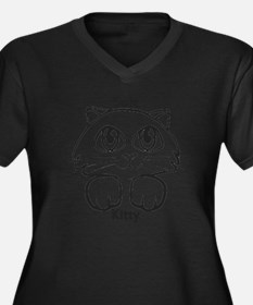 Soft Kitty Women's Plus Size Dark V-Neck T-Shirt