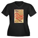Flat Indiana Women's Plus Size V-Neck Dark T-Shirt